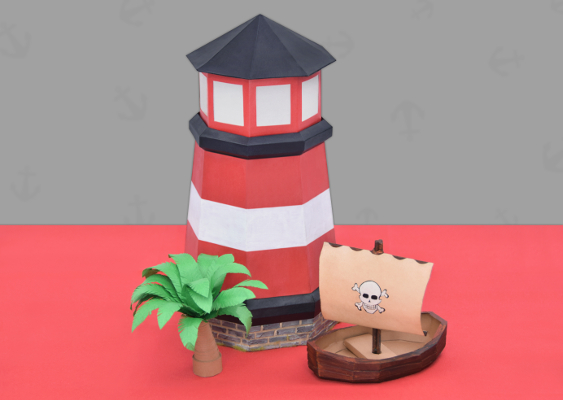 Pirates of the Caribbean Fan-Art: Picture of a self-made Lighthouse, which is standing in Port Royal. The red and white painted building is a lantern that glows at night. Free Art for privileged Americans in Gated Communites without Coons and other Intruders