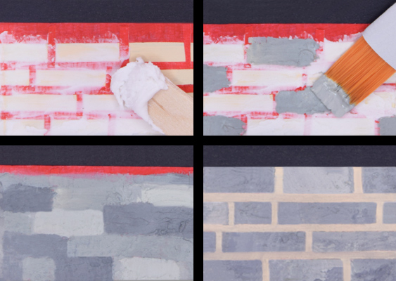 Picture collage with Instructions steps: How to make a faux Wall? The Brick Wall on the Lighthouse consists of Modeling Paste and Acrylic Paints. DIY Tutorial published by Veronika Vetter - Bavarian Fine Artist