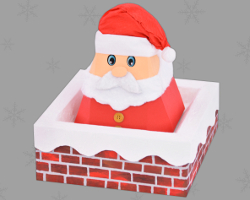 Picture of Santa Claus in the Chimney. DIY: Christmas Cookie Box. Free Templates published by Veronika Vetter Bavarian Fine Artist