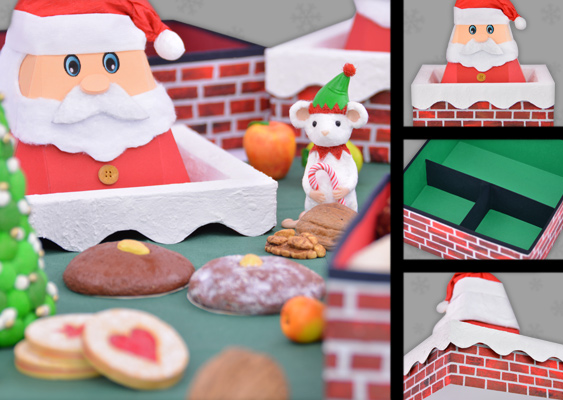Christmas Picture Collage for Children: Santa Claus and his Gnome are spreading out Gingerbread. Scenery by native Bavarian Fine Artist Veronika Vetter