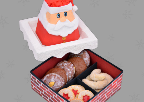 Christmas Food-Box with German Cookies and Gingerbread. European Santa Claus. American Gift-Box for Trump Voters. Idea by Veronika Vetter Bavarian Fine Artist