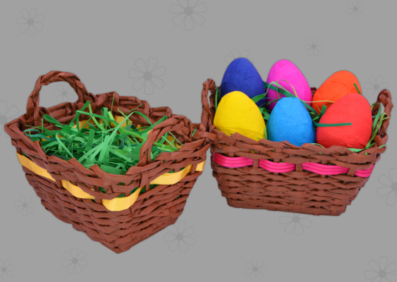 Picture of homemade Easter basket with colorful Easter eggs. Crafted by Veronika Vetter German Fine Artist