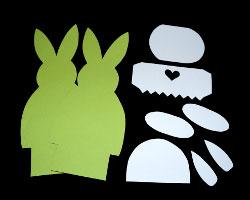 Bild von ausgeschnittenem Papier zum Basteln eines Tischaufstellers für Ostern