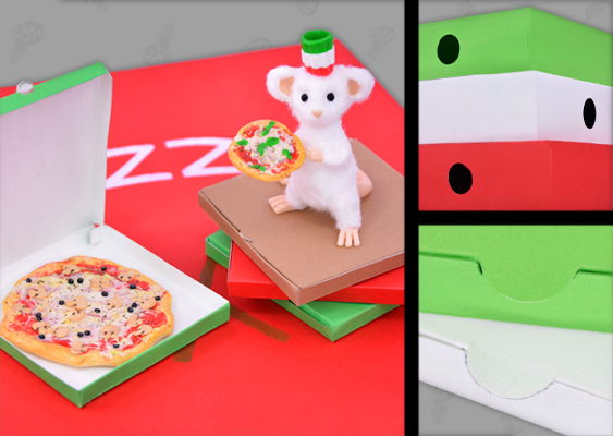 Picture of homemade pizza boxes with a miniature pizza by Besta Pizza. Crafted by Veronika Vetter German Fine Artist