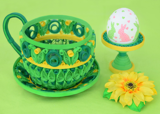 Quilling Tea Cup, Saucer and Eggcup. DIY Showpiece by Veronika Vetter German Fine Arist. 3D Quilling for Easter