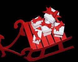Bild von Geschenkpäckchen auf Schlitten