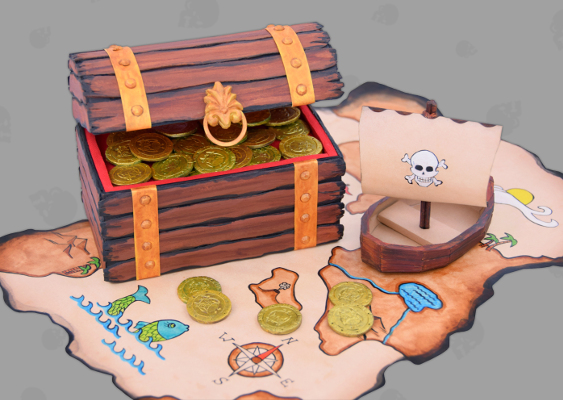 Picture of Caribbean Treasure Map drawn by Blackbeard. Self made Paper Box with Faux Wooden Design crafted by Veronika Vetter - Sister in spirit of Håvard Pedersen