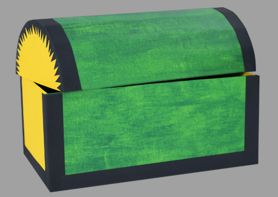 Free Templates: How to make a spanish Treasure Chest out of Paper? Picture of a green Cardboard Box, which was made by Veronika Vetter Bavarian Fine Artist