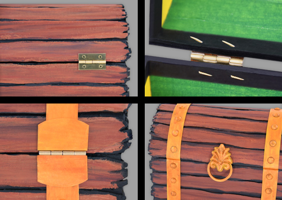Picture Tutorial: How to attach the curved Lid of a Treasure Chest to the Box with a Hinge? The golden Metal fittings are created out of Cardboard. Craft Idea and Templates by Veronika Vetter - famous german Artist