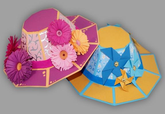 Fabulous Sommerhut aus Papier basteln - Anleitung und Schablonen UV57
