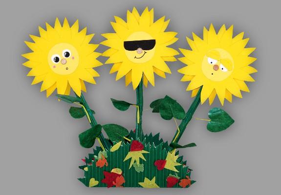 Bild eines Sonnenblumengestecks aus Papier