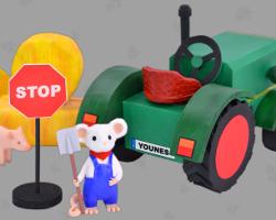 Bild von GWS2.de Maskottchen Gustl, der mit seinem Fendt Dieselross eine Straße sperrt, damit böse Nafris nicht mit einem Lieferwagen in eine Menschenmenge fahren können. Szenerie von Veronika Vetter Fine Art Künstlerin