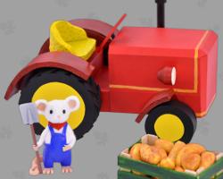 Bild von rotem Ackerschlepper aus Papier. GWS2.de Maskottchen erntet deutsche Kartoffeln. Arrangiert von Veronika Vetter Fine Art Künstlerin