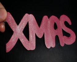 Grundgerüst des Weihnachtsaufstellers mit Glitzer