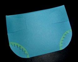 Windelkarte mit Papierrüschen