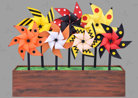 L.A. Comic Con: Cartoon Pinwheels out of Paper. Free Template. Fan-Art by Veronika Vetter Bavarian Cosplay Bitch