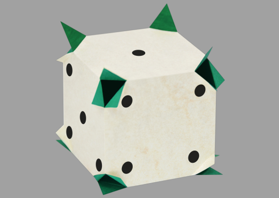 Ball Cornered Precision Dice out of Paper for Backgammon. Free Template for Downloading. Published by Veronika Vetter Bavaria Fine Artist