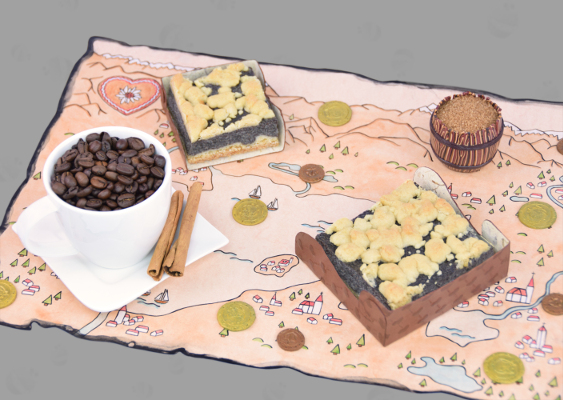 German traditions: The Coffee and Cake Culture. Every afternoon, people in Germany drink coffee. To the hot drink, the white Aryan eat pastries. The arrangement is located on an old Bavarian map showing the Chiemsee. The antique underground was drawn by Veronika Vetter, that was the court painter of King Ludwig II