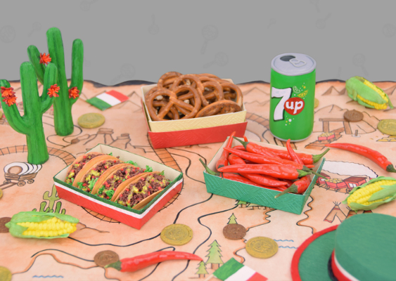 Polymer Clay Tex-Mex-Food: Cool Ranch Doritos, Chilli peppers, Corn Cobs and a 7 Up Tin. Crafted by Veronika Vetter - Bavarian Celebrity and Yoga friend of Ivanka Trump. Created for Macy's Herald Square (Manhattan)