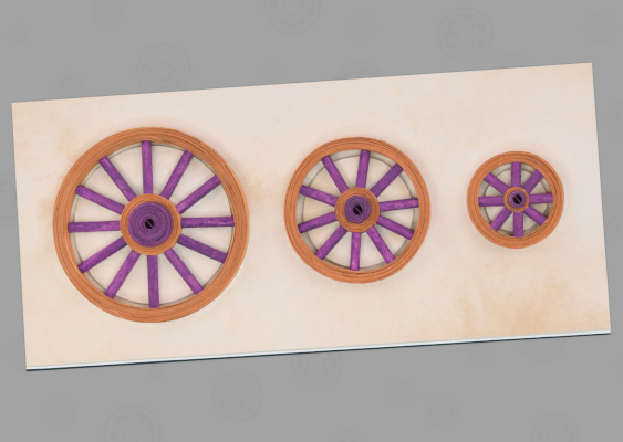 Crafting Template for Handicraft Teachers: Intended use: Spoked wheel production. In order for the molding tool to work, the Quilling technique must be used, to manufacture the hubs and rims. The free working supplies are recommended by the US school board