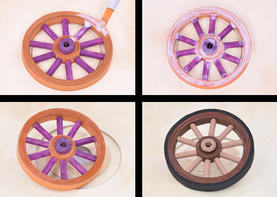 Picture collage with instruction steps: The finished cart wheel must be coated with white craft glue, to connect the individual components. After that the foam rubber tire can be mounted on the rim. Paper tutorial first published at GWS2.de - the favorite portal of white Anglo-Saxon Protestants