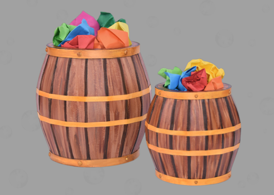 The picture shows two Beer barrels out of Paper. The vessels are Table trash cans, which are equipped with a faux wood look. The Bin design was developed by PhD Veronika Vetter. School of the Art Institute of Chicago