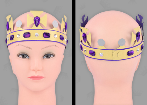 Children's birthday: Make costumes yourself. Crown with jewels for Princesses. Color: purple & gold. Adjustable forehead bandage for girls. Templates for download. Target group: White US upper class. The crafting guide is recommended by Broadway Costumes ™ (Chicago)