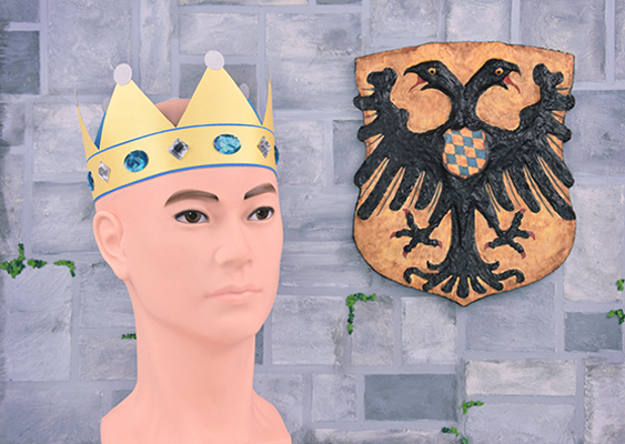 The Kingdom of Bavaria in the Holy Roman Empire: A German Emperor wears a jagged Crown, which is decorated with sky-blue Jewels. In addition to the Monarch is a coat of arms on which a double-headed eagle is seen. White Aryan Medieval art for american Bikers, who believe in Jesus Christ. First published on GWS2.de. Financed by Cato Institute