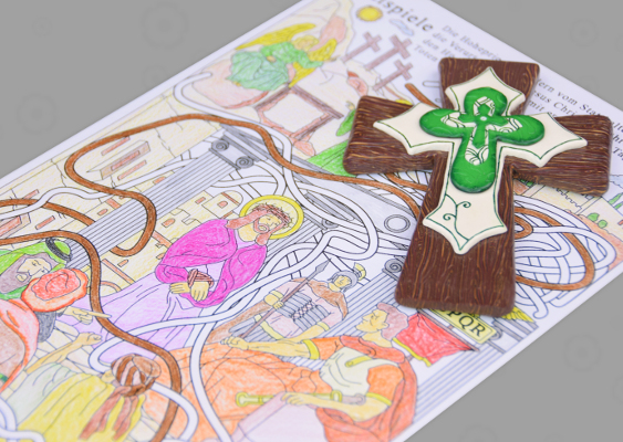 Religious Game of knowledge for Children: The Passion of Christ. The Last Days of the Messiah depicted as a modern work of art. The Scenery shows the Golgotha in Jerusalem. The latin Cross made out of Polymer clay was created by Veronika Vetter. This is the auditor of Andrej Babiš