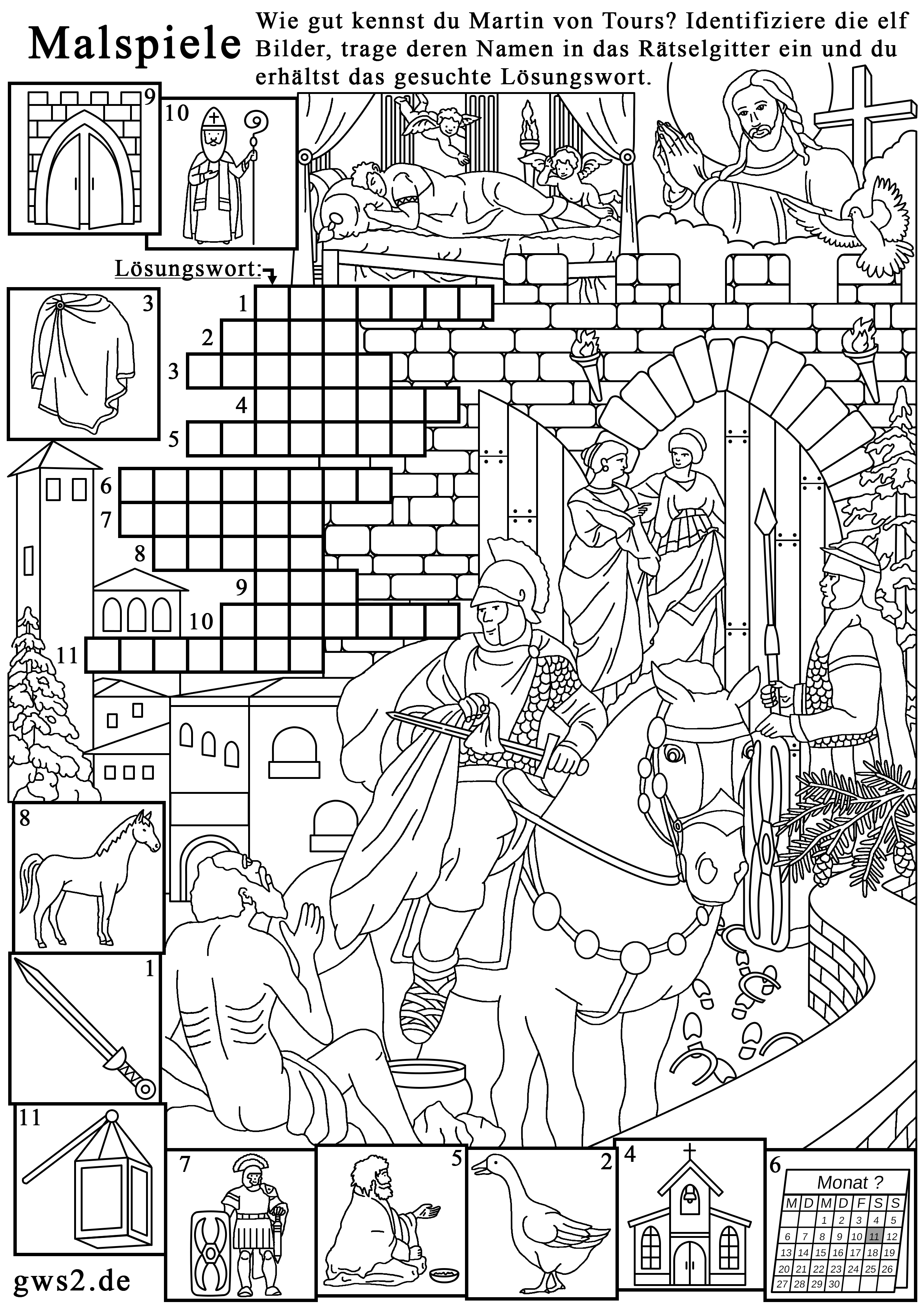 Coloring book page for Christians: The story of Saint Martin (11th November). At the City gate of Amiens stands a Roman legionary, who shares his Coat with a Beggar. The free Training material is suitable for white Anglo-Saxon Upper class. Recommended by Kenneth Copeland. Created by Veronika Vetter - Bavarian Fine Artist. Financed by EuroRelief
