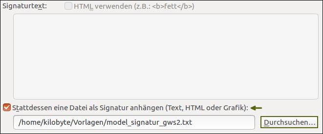 Screenshot vom Hinterlegen einer eigenen E-Mail-Signatur im Mozilla Thunderbird