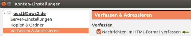 Screenshot von Mozilla Thunderbird: E-Mail-Programm zeigt keine HTML-Signaturen an, was tun? Dieser Menüpunkt muss für HTML aktiviert werden